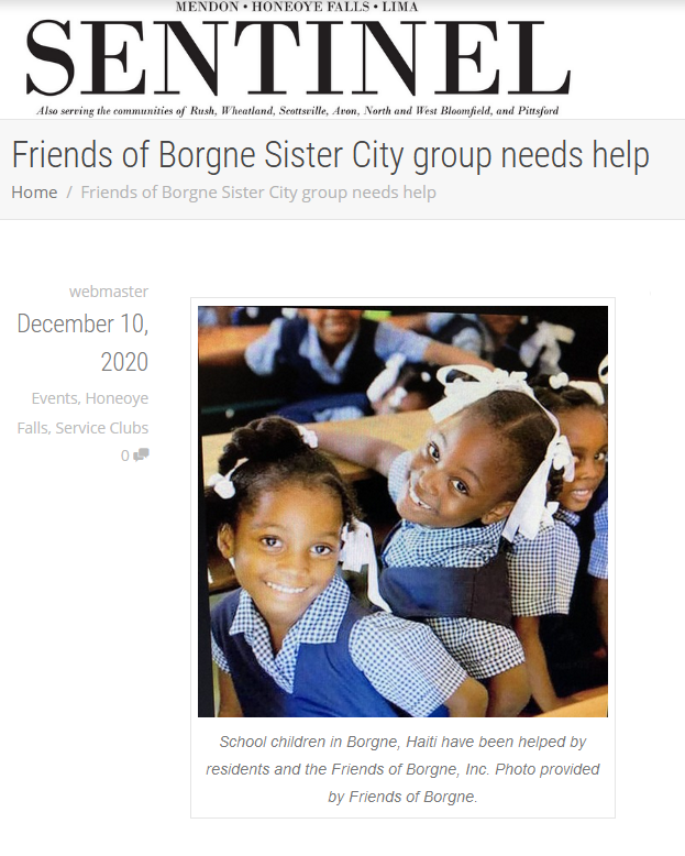 "Mendon - Honeoye Falls - Lima Sentinal article ""Friends of Borgne Sister City group needs help"""