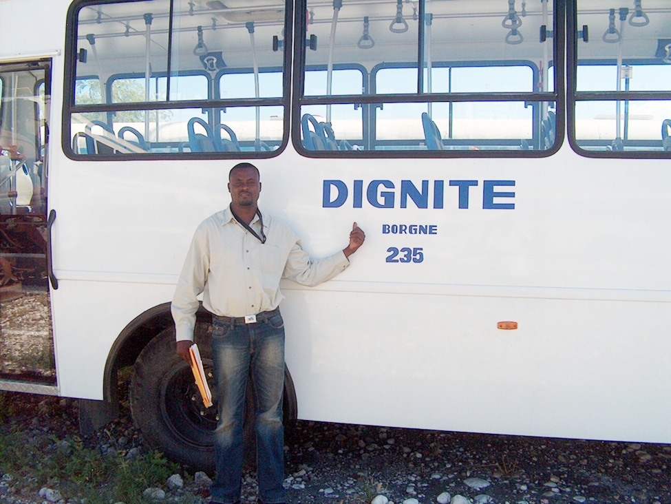 Johnny, as assistant mayor, when the Dignity school bus was delivered for Borgne