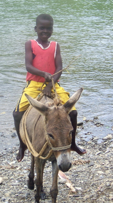 Beulah and boy crossing the river