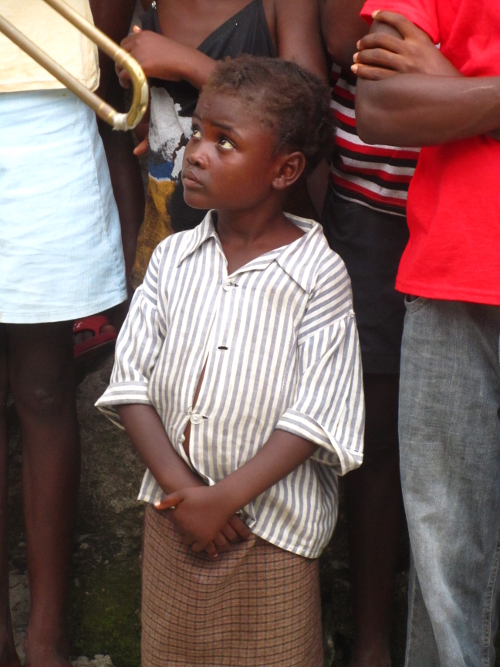 child watching trombone in the Borgne band