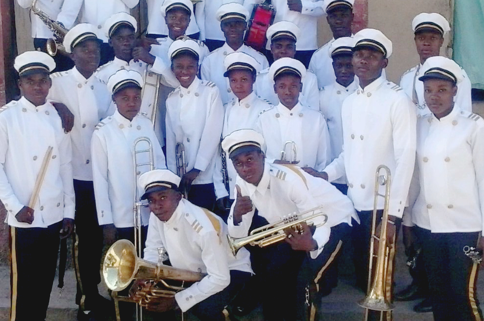 scout band in their new hand-made uniforms